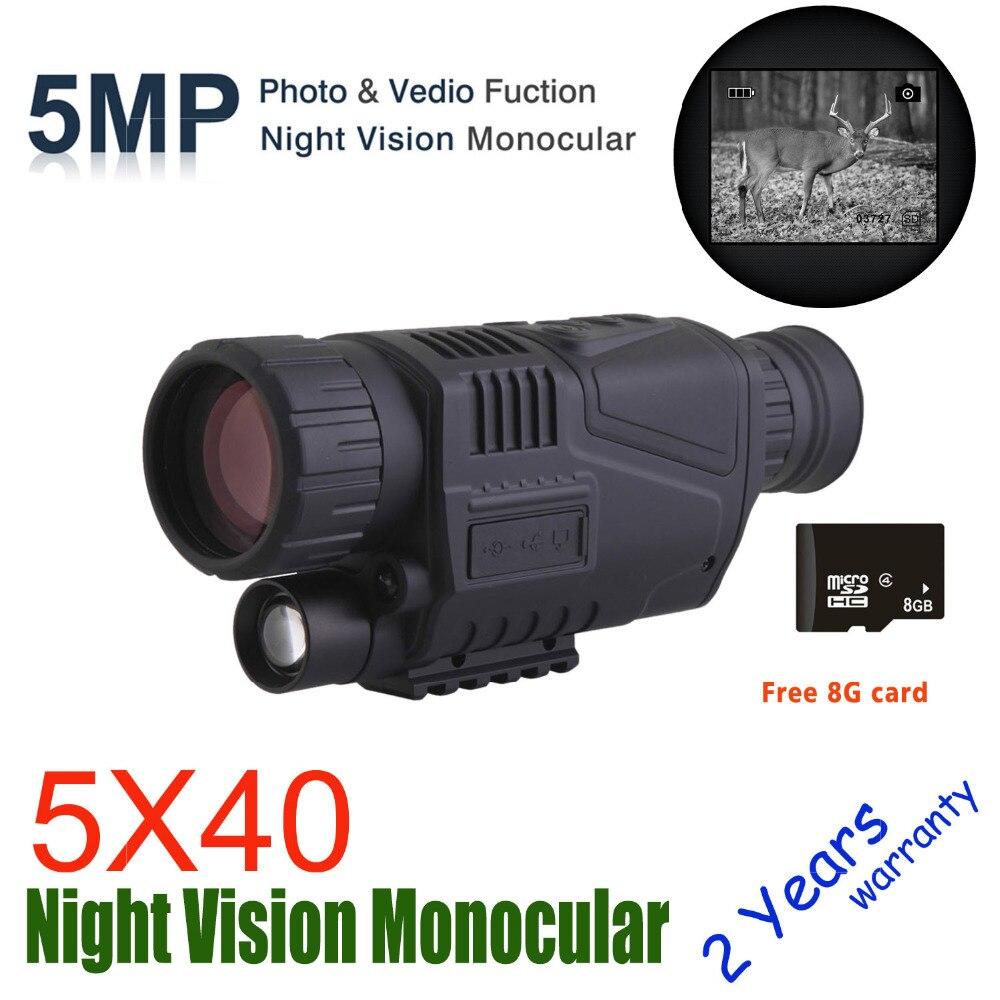 WG540 monoculaires de Vision nocturne numérique infrarouge avec carte 8G TF full dark 5X40 200M gamme optique de Vision nocturne monoculaire de chasse