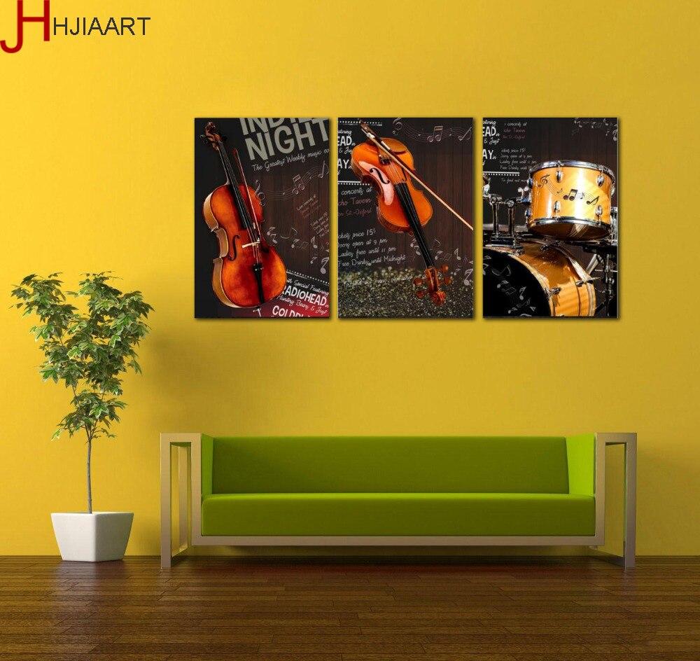 3 Panels No Framed Wall Art Canvas Painting Music Instruments Violin ...