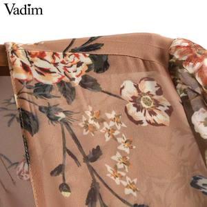 Image 3 - Vadim phụ nữ V cổ hoa voan xếp li ăn mặc xem qua dài tay áo cổ điển nữ retro chic trung bê ăn mặc vestidos QA763