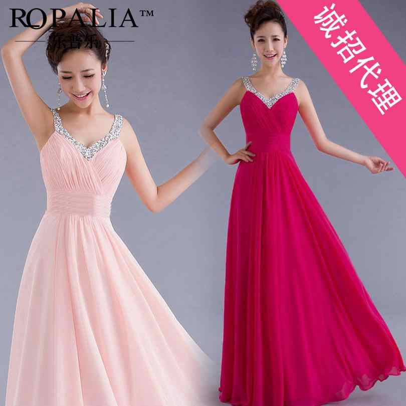 Elegant Women Dress For Wedding Party Spaghetti Straps Chiffon Dress To The  Floor Large Size XL b39caecb382a