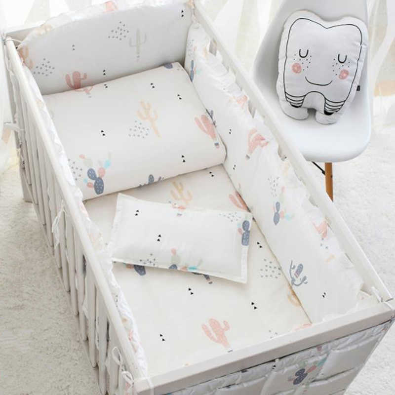 Baby Bed Set Bumper Cotton Cartoon White Newborn Bed Bag Kit Crib Bumper Anti-collision Removable Wash Baby Bed Bedding 120*60