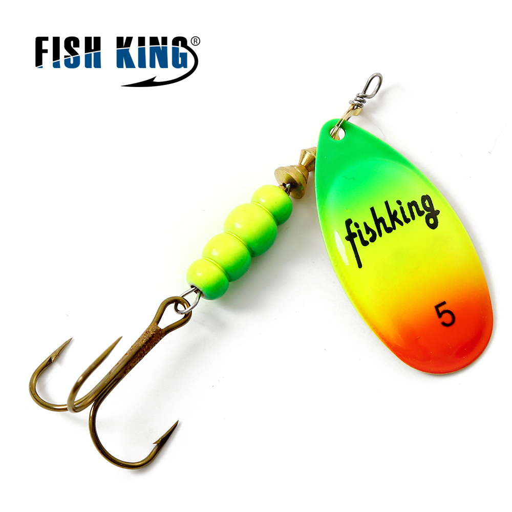 FISH KING Spinner Bait Mepps 1PC 3 Color 1# 2# 3# 4# 5# Fishing Lure Bass Hard Baits Spoon With Treble Hook Tackle High Quality fishing baits with hook color assorted 5 pack
