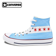 Original Converse All Star Canvas Shoes USA Chicago Flag Skyline Design Custom Hand Painted Sneakers Men Women Shoes Unique Gift(China)