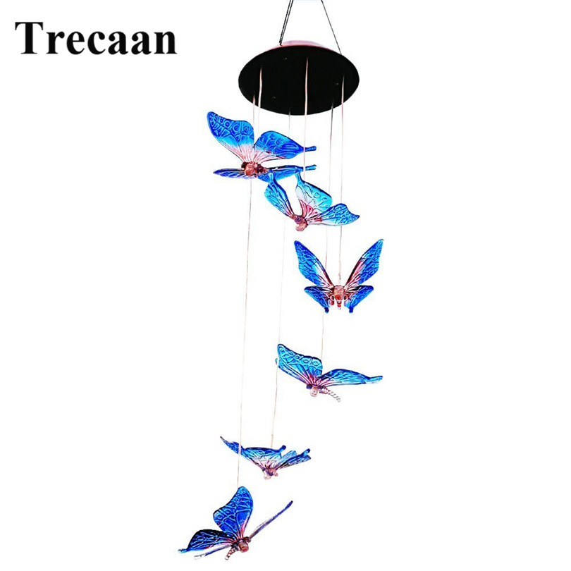 Trecaan Outdoor Windlights Solar Powered LED Changing Light Color Butterfly Wind Chimes Garden Lights for Garden Lighting Dec