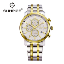 SUNRISE Gold Quartz Water Resistant Watch Mens Designer Watches Top Brand Luxury Men's Casual Wristwatch DM755 reloj de cuarzo