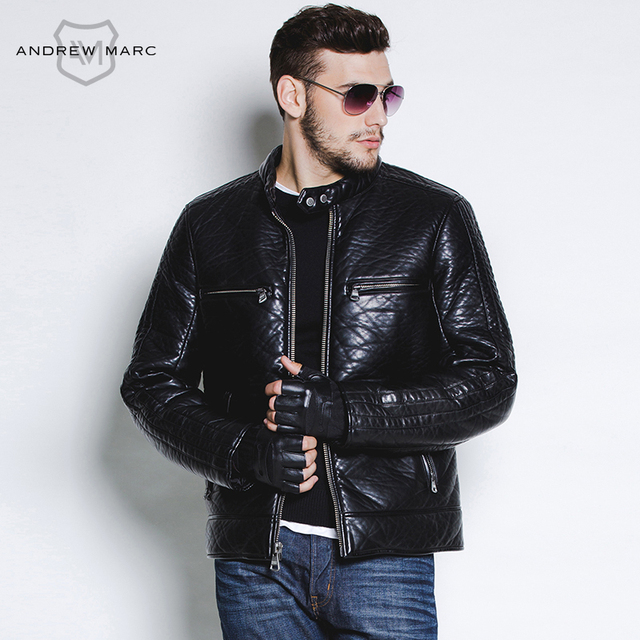 ANDREW MARC MNY 2016  PU Man's Leather Winter Autumn  Jacket Coat Fashion Leisure Motorcycle Overcoat S-XXL TM5AP011