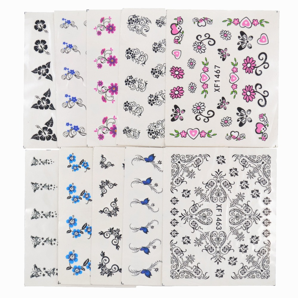 Image 3 - 50 Sheets Mixed Styles Watermark Flower Cat Etc Stickers Nail Art Water Transfer Tips Decals Beauty Temporary Tattoos Tools-in Stickers & Decals from Beauty & Health