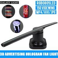 Nueva luz de publicidad caliente logo Luz Portátil LED Universal 3D holográfica publicidad pantalla ventilador holograma para puerta y al aire libre