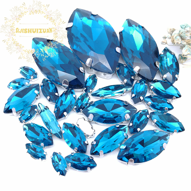 3dfb2680df US $2.84 49% OFF|Popular! MIX Peacock blue Horse eye Size Crystal Glass Sew  on Rhinestones Silver Bottom DIY Women's Dresses and shoes 30pcs-in ...