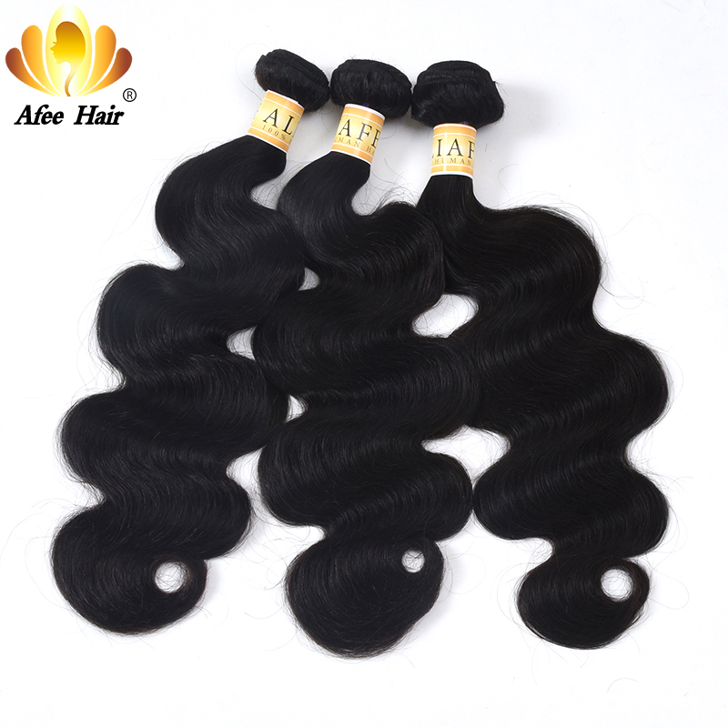 AliAfee Chinese Hair Body Wave 3 Bundles Deal Chinese Body Wave Hair Weave 100% Human Hair Weave Extensiton Non Remy Hair 8-28