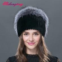 2016 Elegant Real Fur Skullies Beanies For Women Decorative Chain Hedging Cap Rabbit Fur Thicken Hat Winter Hats Tampas TM-13
