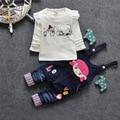 O envio gratuito de 2017 meninas doces do bebê 2 pcs sets, t-shirt + macacão terno crianças colthing