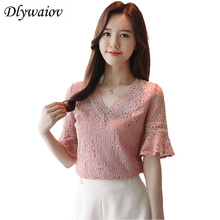Lace Short sleeve Top 2018 Summer New Hollow V collar Fashion Shirt Horn Sleeve Elegant Womens Tops Vintage t shirt