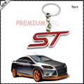 Auto Key Chain, 5pc Chrome Finish red ST Key Chain Fob Ring Keychain For Ford Focus