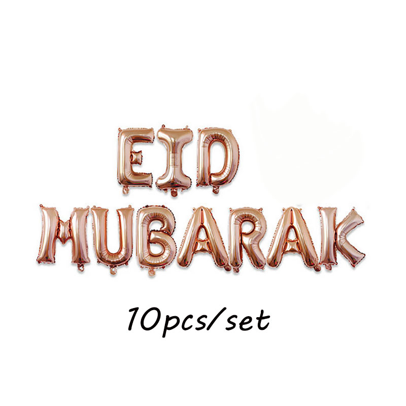11pcs/set EID MUBARAK foil balloons Rose gold Silver letter with Star Moon eid balloon for Muslim eid Party Decoration supplies