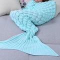 2017 Charming Yarn Knitted Mermaid Tail Blanket Sleeping Bed Sofa Soft Warm Handmade Crochet Portable Blankets For Children
