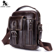 LAOSHIZI New Arrival Genuine Leather Men's Messenger Bag Vintage Zipper Shoulder Bag For Men Casual Cross Body Bags iPad Holder