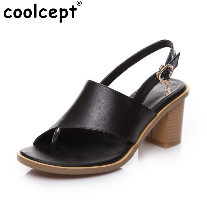 women real genuine leather slingbacks peep toe square high heel sandals sexy fashion brand heeled ladies shoes size 33-40 R6301 women high heel shoes women slingbacks sandals genuine leather solid color black white summer fashion casual shoes round toe