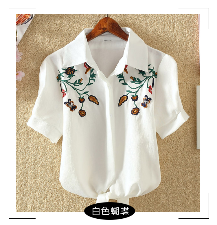 HTB1Frm RFXXXXcTXpXXq6xXFXXXD - Women Shirts Korean Short Sleeve Flower Embroidery Clothes