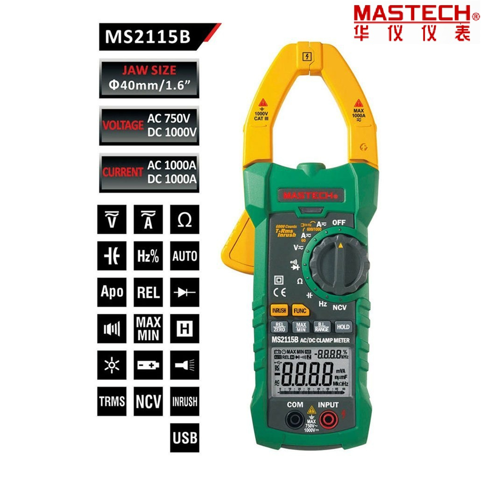 MASTECH MS2115B True RMS Digital AC/DC Clamp Meters Capacitance Frequency Tester W/USB Interface & NCV my68 handheld auto range digital multimeter dmm w capacitance frequency