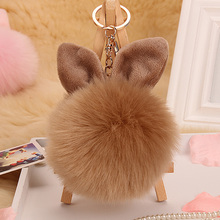 2016 Fur Pom Pom Keychain Fluffy porte clef women femme Pom Pom Key chain Rabbit Ear Fur Ball Key Chain Rings llavero Bag