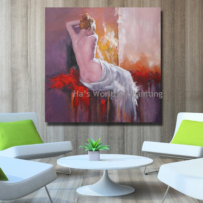 Large hand painted cheap wall canvas nude women oil paintings modern decoration wall art living for Wall sculptures for living room