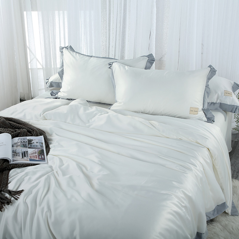 SLOWDREAM Bedding Set Luxury White Double Linen Silk Euro Sheet Bedspread Duvet Cover Comforter Adult Queen King Bed Linen Set in Bedding Sets from Home Garden