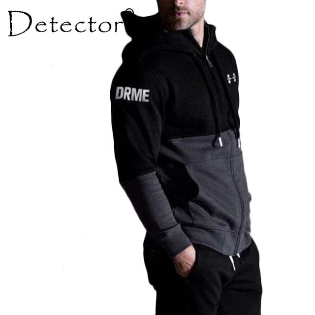 865e2d16f12 Detector Mens Fitness Breathable Hooded Sweatshirt Running Jackets Zipper  Slim Fit Pullover Hoodies Gym Sportswear