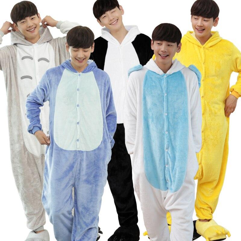 6428a9a504 Adult Flannel Animal Pajamas Cartoon Costume Onesie Pink Blue Unicorn  Pyjamas Jumpsuits Male Pajamas Animal Pyjamas