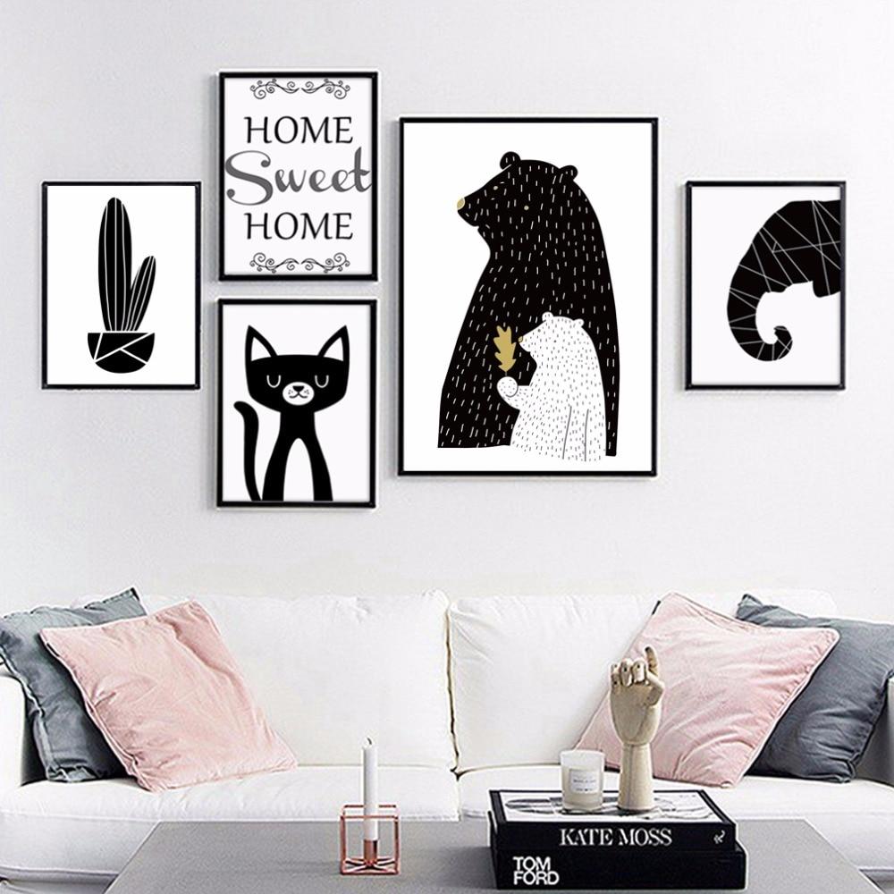 wohnzimmer wand poster : Schwarz Und Wei Cartoon Tier Elephant Katze Wandbilder Poster