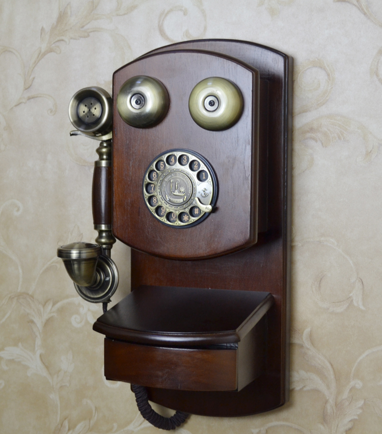 European antique wall mounted retro hanging metal rotary dial telephone Decoration home art rustic phone household backlit