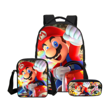 Fashion Cartoon Children Super Mario Bros Sonic School Laptop Backpack Kids Bags Kindergarten Mochila Pencil 16 Inch Bag