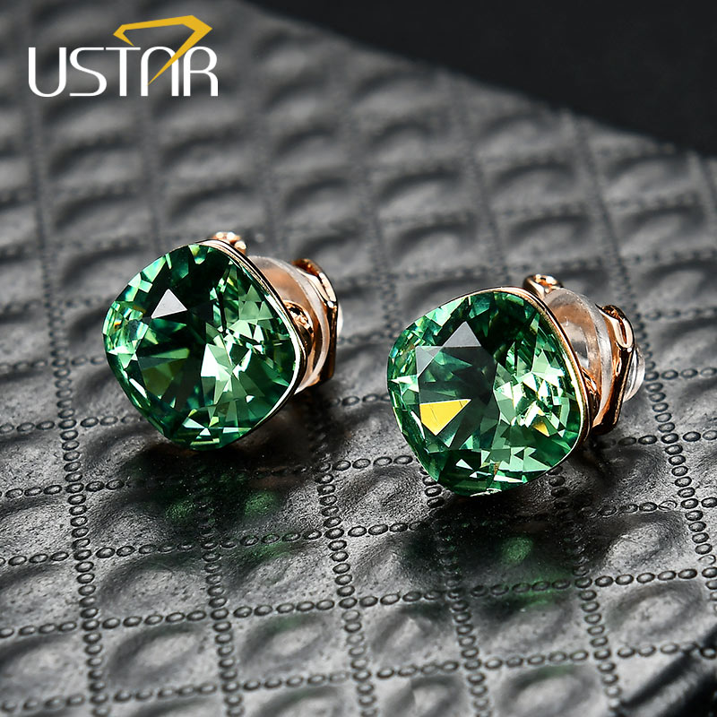 USTAR Square Crystal Clip Earrings for Women with AAA Cubic Zirconia Fashion Jewelry Earrings female brincos Non-slip Stopper
