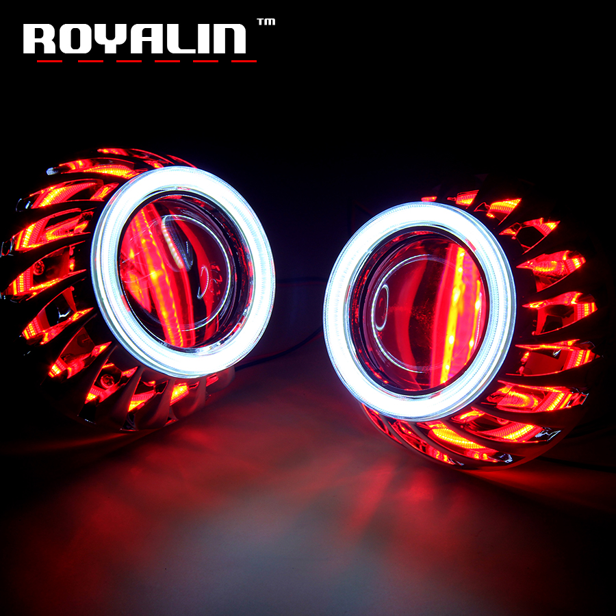 royalin led drl double angel eyes halo rings mini projector lens bi xenon h1 headlight shrouds white red h4 h7 auto lamps diy ROYALIN DRL Double Angel Eyes LED COB Halo Rings Mini Projector Lens H1 Halogen Headlight Turbine Masks H4 H7 Car Styling Lights
