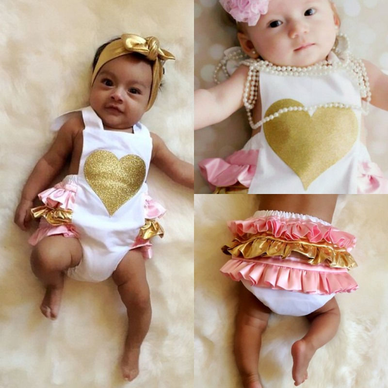 Newborn Infant Baby Girl Bodysuit Love Pattern Printed Backless Ruffles Jumpsuit Sunsuit Clothes Bodysuit Baby Girl 0-24 Monthes