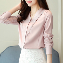 2019 Long sleeve chiffon women blouses tops wing collar causal solid white beading fashion shirts 986J