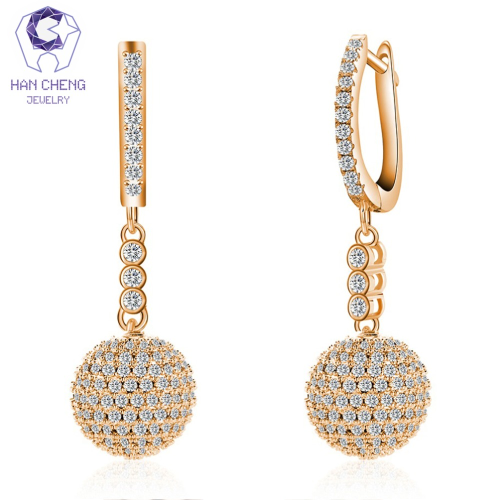 Detail Feedback Questions about HanCheng New Fashion Luxury Golden Round  Ball Dangle Hanging AAA Zircon Long Drop Earrings For Women Jewelry brincos  bijoux ... 3859857aa817
