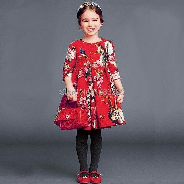 Nouveau 2018 l'automne hiver nouvelles filles robe Jacquard robe rouge en Europe et en amérique style mode de haute qualité livraison gratuite