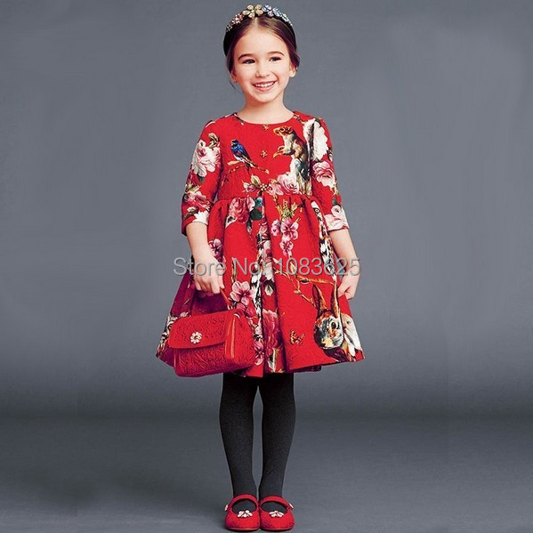 цены new 2018 The fall winter new girls Jacquard Dress red dress in Europe and America style fashion high quality free shipping