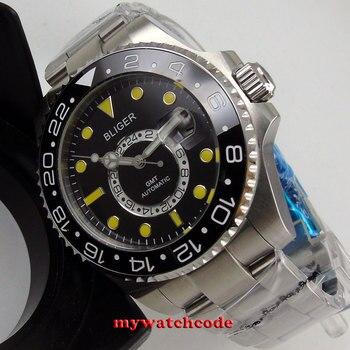 43mm bliger black dial ceramic bezel GMT sapphire glass automatic mens watch 208