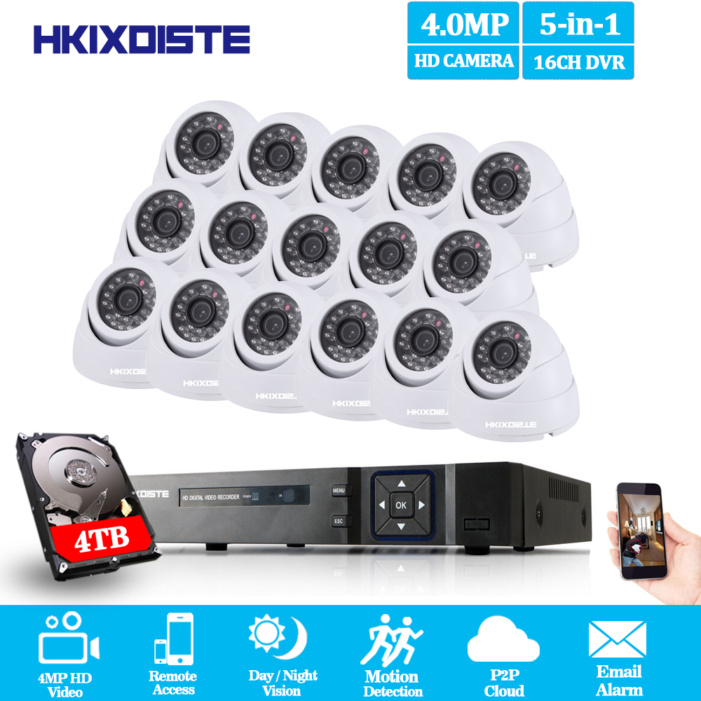 Home Security CCTV Camera System 16CH 5MP 4MP NVR AHD DVR System Kit + 16PCS Leds 40M IR Night Vision indoor Dome 4MP AHD Camera home security system 16ch h 264 motion detect camera system dvr kit with 800tvl waterproof outdoor ir night vision cctv camera