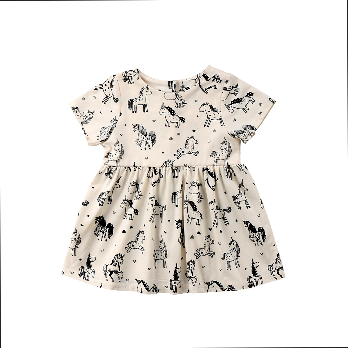 Toddler Kids Baby Girl Animal Short Sleeve Unicorn Dress Outfit Beige Dresses Clothes