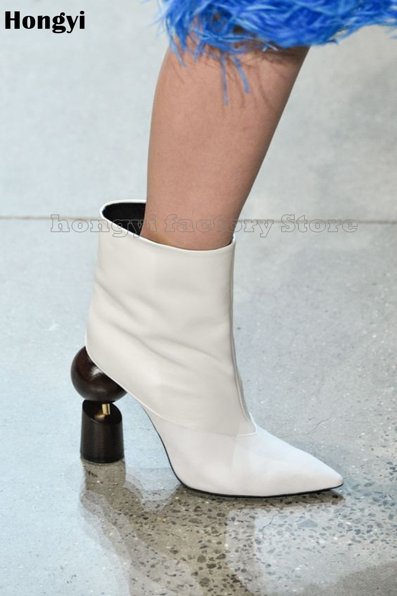 Fashion Real Leather Abnormal High Heeled Ankle Boots Women Pointed Toe Slip On Fashion Show Boot Plus size 43