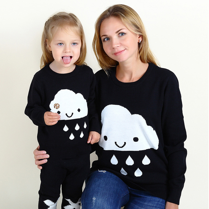 Clouds Rain Pullovers Cotton Sweater Mother and Daughter Family Matching Clothes Outfits Look Mommy Mom Me Baby Clothing clouds without rain
