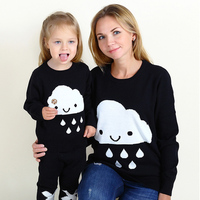 Clouds Rain Pullovers Cotton Sweater Mother and Daughter Family Matching Clothes Outfits Look Mommy Mom Me Baby Clothing
