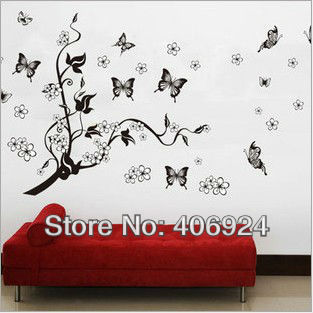 Hot Sale Removable Flower And Butterfly Wall Stickers Drawing Room Art Bedroom Vinyl
