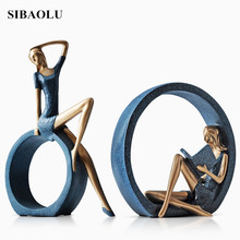 Europe Creative Decorative Craft Resin Abstract Girl Sitting and Reading with Circles Statue Lady Figurine Gift Home Decor