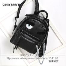 Women japan and korean style wrinkle eyes fun bag backpack women bolsas school bag chain fashion