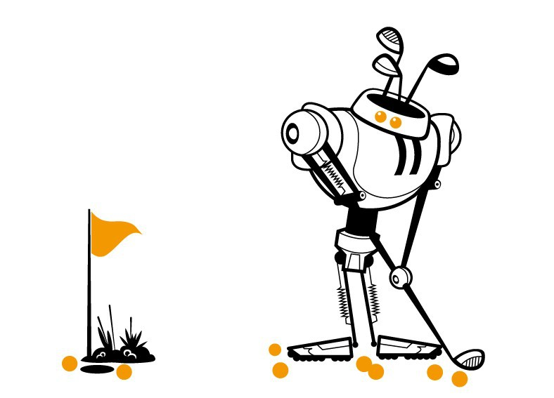 New Design/Cute Robot Robots play golf Design Style/Removable Waterproof Vinyl Cartoon Sports wall Sticker/Nursery/Boys Bedroom