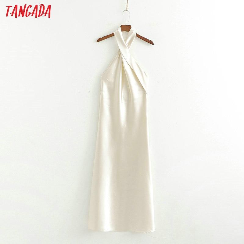 Tangada Women Summer Dress Sleeveless Cross Halter 2019 New Arrival Elegant Ladies Sexy Maxi Long Dress Vestidos 1D254